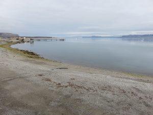 Uitzicht vanaf het laboratorium - vanaf hier zagen wij de Groenlandse walvis