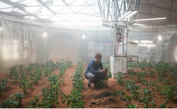 Aardappelen op 'echte' Marsgrond geteeld door botanist Mark Watney in een plastic tent (Courtesy of 20th Century Fox).